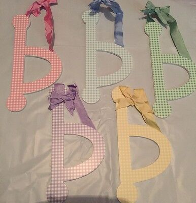 "Lower Case Letter MULTI COLORS Gingham Wood Letters ""b"""
