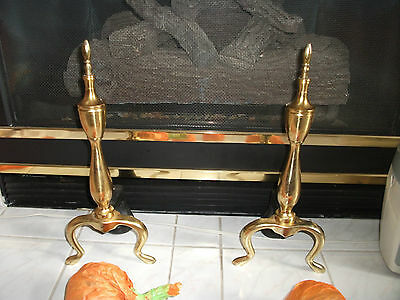 Vintage Brass & Cast Iron Fireplace Andirons Gas or Wood Fireplace