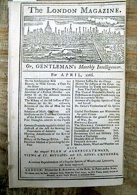 1766 news magazine ATLANTIC TRIANGLE TRADE of NEGRO SLAVES from AFRICA described