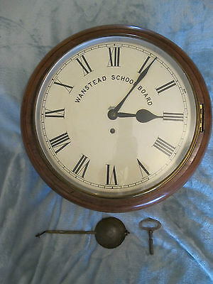 Large Striking Wanstead School Board Antique Mahogany Wall Clock.
