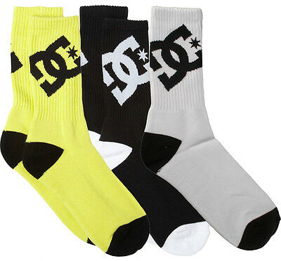 DC Shoes Apparel Big Boys' Mens Lifted By 3 Pack Crew Yellow Black White Socks