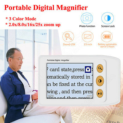 """3.5"""" HD LCD Digital Electronic Reading Magnifier Handy Aid For Low Vision 2X-25X"""