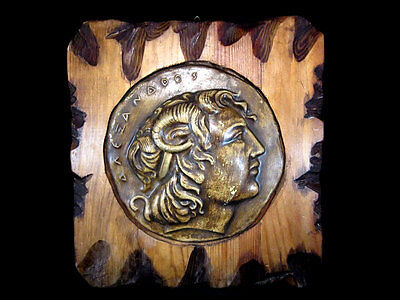Beautiful Alexander The Great Portrait Plaque On Wooden Plate