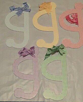 "Lower Case Letter MULTI COLORS Gingham Wood Letters ""g"""
