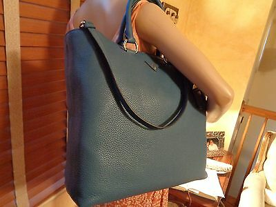5025273988bd NWT PRADA COBALTO (Blue) Pebbled Leather LARGE Shopping Tote Shoulder BN1713