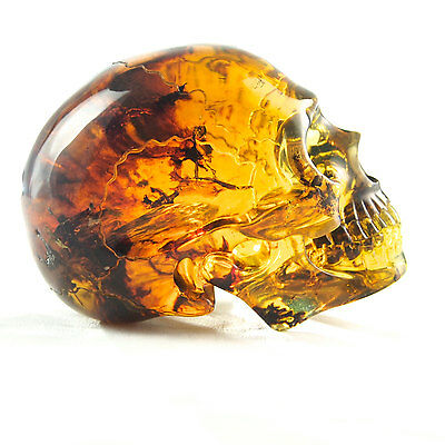 Hand Carved Mexican Blue Green Amber Skull  238.3 g