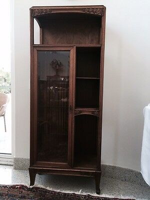 Antique Majorelle Walnut Art Nouveau Display Cabinet