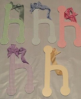 "Lower Case Letter MULTI COLORS Gingham Wood Letters ""h"""