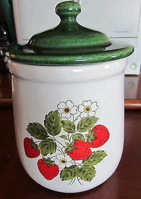 McCoy Canister Strawberry Pattern# 131 W/ Green Lid