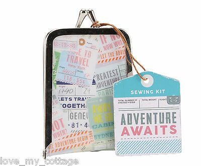 Adventure Holiday Mini Sewing Kit Case Travel Emergency Needle Thread Scissors!
