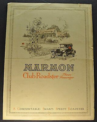 1916 Marmon Club Roadster Sales Brochure Folder Original 16