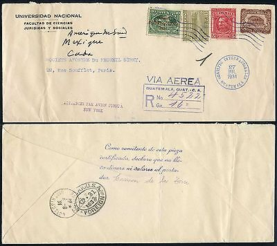 Airmail Registered Guatemala 1934 4 Col.franking Cover