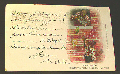 """Racist  Post Card - C. 1907  Black Burglars -  from the """"Removal Series"""""""