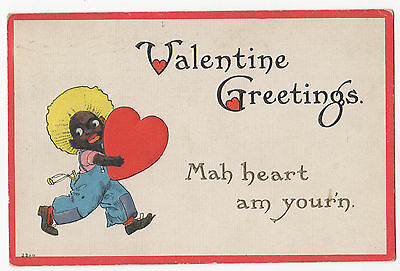 """Racist  Valentine Post Card - 1915 """" My heart am your'n"""""""