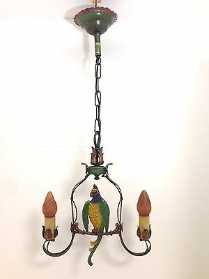 Antique Cast Iron Parrot Hanging Lamp Chandelier - Free Shipping in USA!!