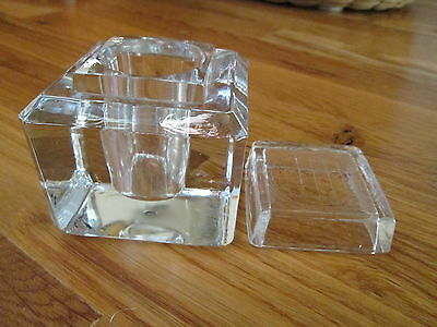 """Antique Glass Crystal Block Desk Inkwell 2-5/8"""" Cube w/ Lid Exc Cnd 1.4lb"""
