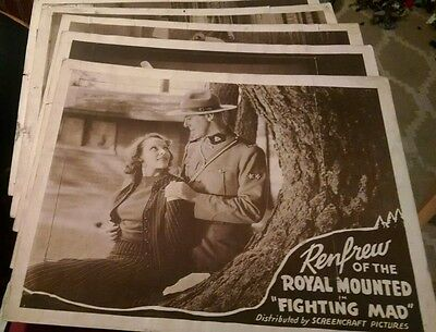 5 lobby cards RENFROW OF THE ROYAL MOUNTED in FIGHTING MAD 1937