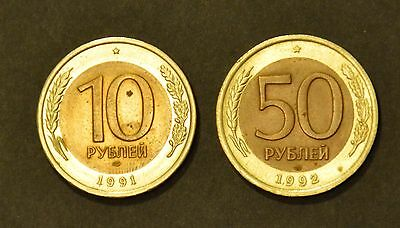 10 roubles 1991 USSR & 50 roubles1992 Russia - last year of USSR!