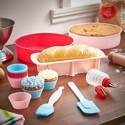 Cookhouse 18 Piece Silicone Baking Set Cupcake Cake Loaf Moulds Spatula Pastry