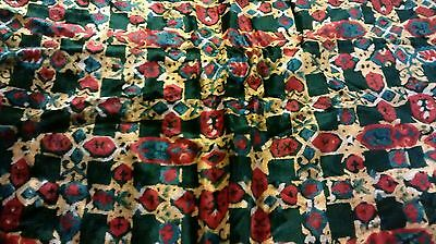 vintage velour velvet like fabric red yellow forest green print 5 1/2 yards COOL