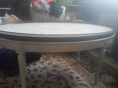mid century Hollywood regency oval  marble top table pierced brass rail