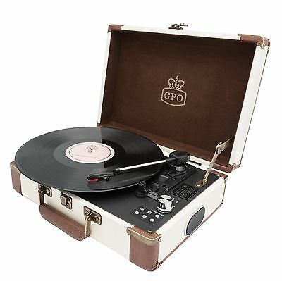GPO Attache GO Turntable Record Player Cream - Rechargeable Battery USB Rrecord
