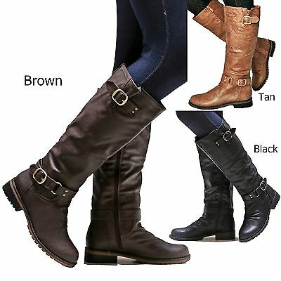 7119c985e01 NEW WOMEN ED07 Brown Black Tan Buckle Riding Knee High Boots size 5.5 to 11