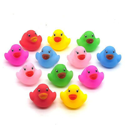 12 Mini Colorful Bathtime Rubber Duck Kids Baby Bath Toy Squeaky Water Glaring