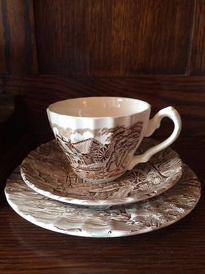 Vintage Alfred Meakin The Mill Tea Trio Cup Saucer & Cake Plate