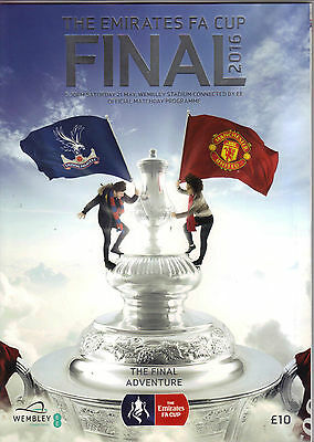 2016 FA Cup Final    Crystal Palace   v   Manchester United     MINT   POST FREE