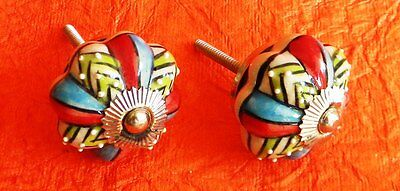 Set of 15 Hand Painted Ceramic Door Knobs Cabinet Drawer Pulls knobs # 04