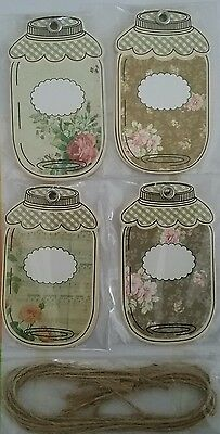 jar tags shabby chic floral pack of 8 - arts crafts decoration vintage