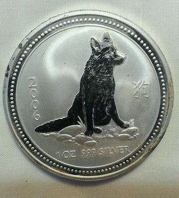 2006 1 oz Silver Lunar Year of the Dog (Series I) Abrasions