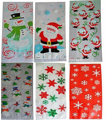 Christmas Cellophane Bags Pack of 20 , Gift Party Treat Kids Sweet Xmas Cello