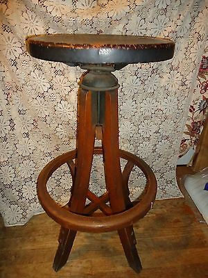 Antique P. Derby Wood Industrial Stool,swivel Seat,very Nice