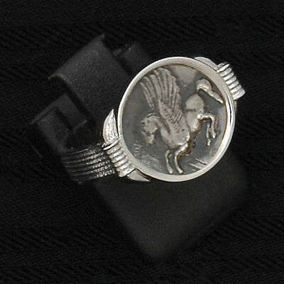 PEGASUS GREEK HISTORY COIN RING sterling silver 925  CODE 330