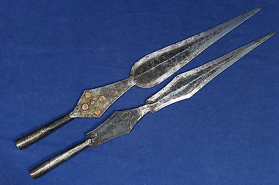 2 antique Islamic Tuareg forged spearheads - North Africa early 20th
