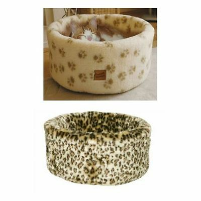 Danish Design Luxury Cat Kitten Bed Cream Cosy Bed, Leopard Bed Small Med Avail