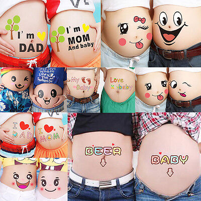 2PC Papa and Mama Couple Pregnant Belly Sticker Baby Shower Photo Prop Keepsakes