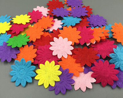 400pcs Felt Flowers Mixed Colors Appliques Cardmaking decoration Craft 33mm
