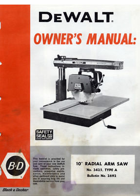 DeWalt Radial Arm Saw RAS Owners Operators Manual, Many Models Available