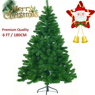 New 6Ft-180Cm Green Pine Artificial Christmas Xmas Tree 400 Tips Free P&p!!