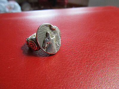 925 Sterling Silver Wolf Howling at Moon Ring Size 6 Signed #2(t)