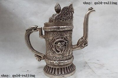 "9""China Tibet Buddhism Folk Silver Lifelike Lucky Dragon wine pot flagon"