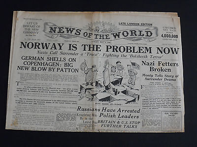 WW2 Newspaper NEWS of the WORLD May 6 1945 - Norway IsThe Problem Now
