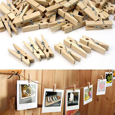 Natural Wooden Mini Craft Pegs  Embellishments Cloth Photo Hanging Spring Clips