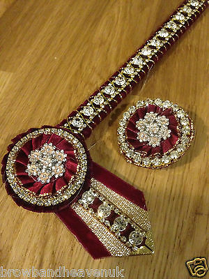 "Wine & Gold Diamante Show Browband & Buttonhole Set. 13.5"". Brown Leather."