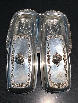 Vintage FB Rogers Silver Co. Silver plate Double Butter Dish 1196 Glass Inserts