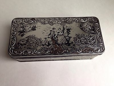 Vintage Metal Tin Hinged Box by Daner Victorian Couple, Embossed, England