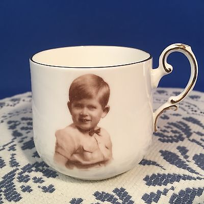Young PRINCE CHARLES Portrait Paragon Bone China England Souvenir Coffee Tea Cup